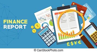 finanse, zameldować, i, finansowa analiza