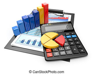 finansiell, affär, räknemaskin, analytics., reports.