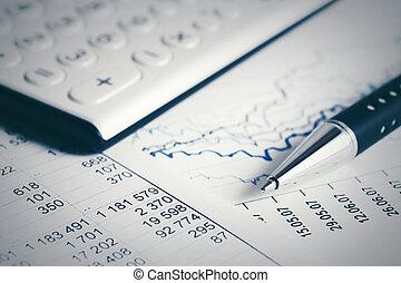 finansiell analys, grafer, bokföring, marknaden, block