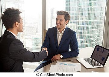 finansiell konsul, presentera, sig själv, till, klient