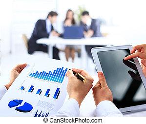 finansiell, kontor, affär, work-group, analysering, data