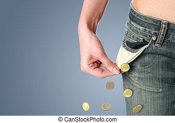 finansiell, kris, cocnept.