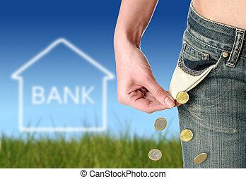 finansiell, kris, concept.