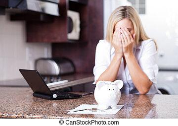 finansiell, kvinna, problem, ha