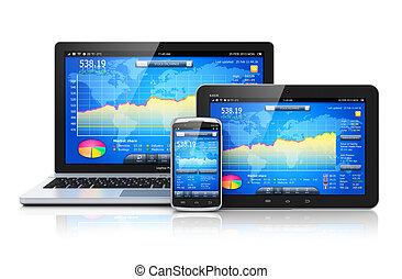 finansiell ledning, på, mobil, enheter