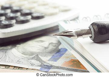 finansiell, pengar, analys, kreditera, närbild, marknaden, bokföring, penna, kort, block