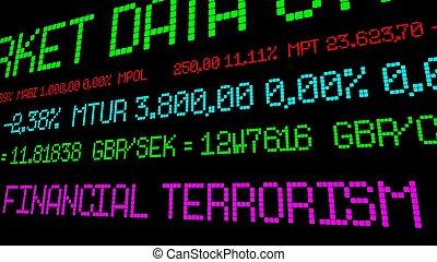 finansiell, terrorism, stock ticker