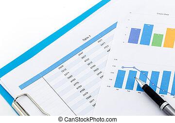 finansiell, topplista, och, affär, grafer, på bordet