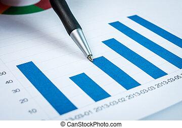 finansiell, visande, diagram, penna, affärsman, rapport, användande