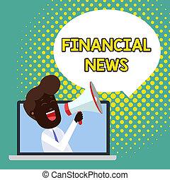 finansielle, analysisagement, tekst, laptop, tegn, igennem, blank, investering, loudhailer, regulering, tale, fotografi, begrebsmæssig, boble, tal, viser, fond, mand, bankvirksomhed, announce., handlende, news.