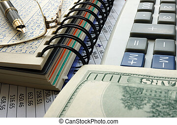 finansielle, bogholderi, concept.