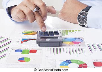 finansielle, data, analyserer