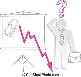 finansielle, firma, graph, forvirr, crisis., fald, show, mand