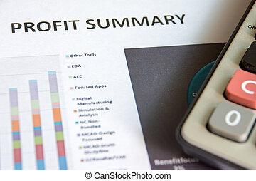 finansielle, fortjeneste, analyse, resumé, graferne,...