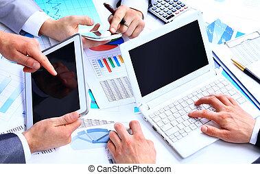 finansielle, kontor, firma, work-group, analyserer, data