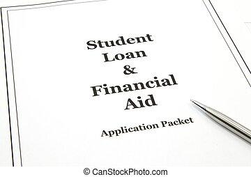 finansielle, lån, pakke, ansøgning, student, hjælpemiddel
