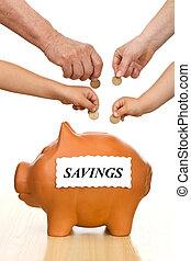 finansielle, undervisning, og, penge, sparepenge, begreb