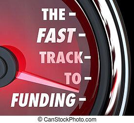 finansiering, spåra, funded, uppe, fasta, start, rask, ...