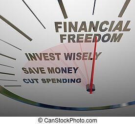 finansowa wolność, invesment, oszczędności, pieniądze, szybkościomierz