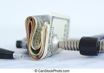 finansowe ciśnienie, na, pień rynki, pojęcie, z, stóg, od, halabardy dolara, przeciw, klamra
