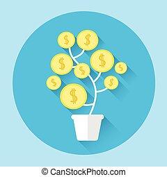 finansowy, barwny, drzewo, wzrost, pieniądz, ikona