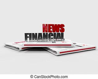 finansowy, cyfrowy, -, nowość, gazeta, logo, dzieło