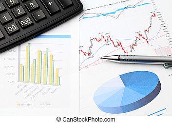 finansowy, dane, wykres