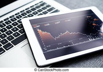 finansowy, ekran, komputer, stats