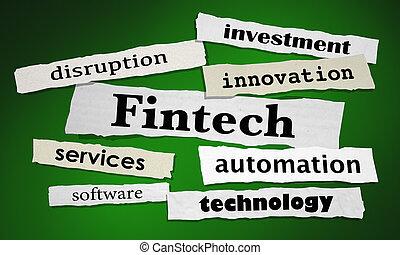 finansowy, fintech, ilustracja, służby, nowość, nagłówki, technologia, 3d