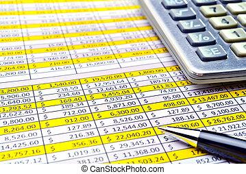 finansowy, formuje, z, pióro i, calculator.