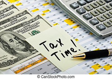 finansowy, formuje, z, pióro, rzeźnik, kalkulator, i, pieniądze.
