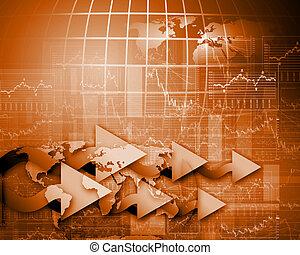finansowy, handlowy, barwa, wykresy, ilustracja, wykresy