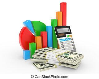 finansowy, handlowy, powodzenie, pokaz, wykres, targ, pień