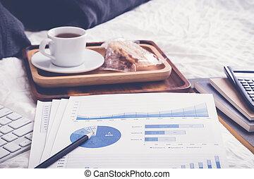 finansowy, herbata, vintage., wykres, łóżko, złamanie