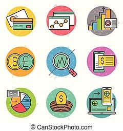 finansowy, ikona, handlowy, komplet