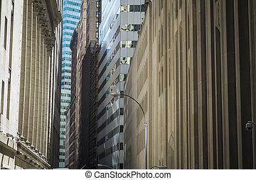 finansowy okręg, zabudowanie, miasto nowego yorku