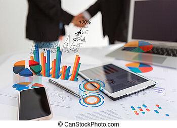 finansowy, tabliczka, wykresy, telefon, pióro, stół