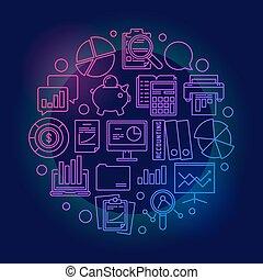 finansowy, uważając, barwny, symbol