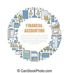 finansowy, uważając, koło, afisz, z, płaska lina, icons.,...