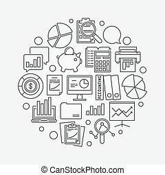 finansowy, uważając, okrągły, symbol