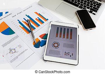 finansowy, wykresy, na stole, z, tabliczka, telefon, i,...