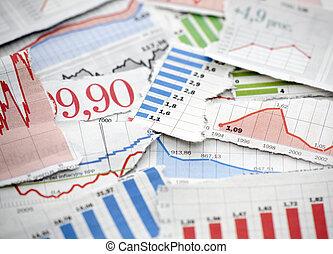 finansowy, wykresy, z, gazety