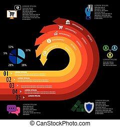 finanz, bankwesen, &, geld, verwandt, e-commerz, vektor, infographics