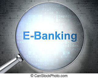 finanz, concept:, e-bankwesen, mit, optisch, glas