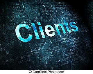 finanz, concept:, klienten, auf, digitaler hintergrund