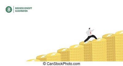 finanz, geschaeftswelt, geld, oberseite, rennender , abbildung, stapel, bedeutung, wachstum, hintergrund, geschäftsmann, weißes, banner, concept., vector.