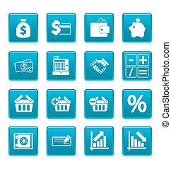 finanz, heiligenbilder, auf, blaues, quadrate