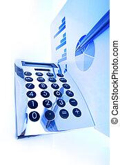 finanz, schaubild, auf, ein, büroschreibtisch