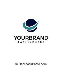 finanza, affari, globo, vettore, disegno, freccia, mondo, logotipo, template., sagoma