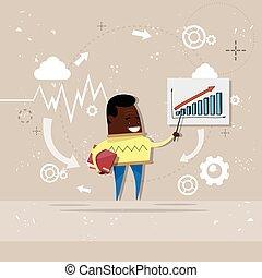 finanza, affari, grafico, esposizione, grafico, americano, africano, relazione, uomo